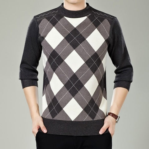 VEAKER Men's Cream Classic Check Cashmere Turtleneck Knitted Plaid Sweater