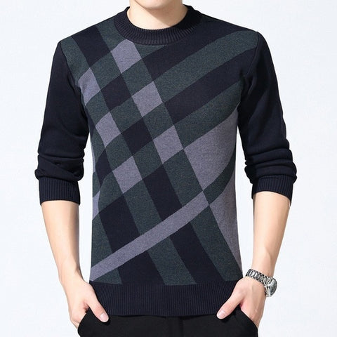 VEAKER Men's Navy Side Check Cashmere Turtleneck Knitted Plaid Sweater