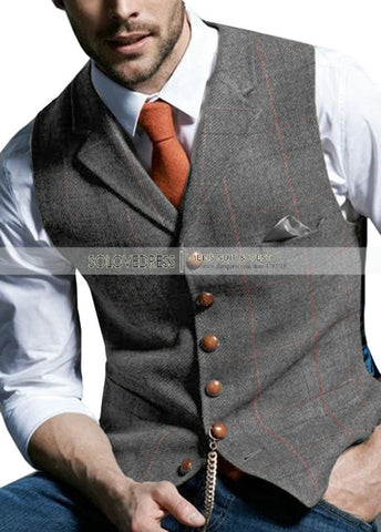 SOLOVEDRESS Men's Grey Notched Plaid Waistcoat