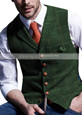 SOLOVEDRESS Men's Green Notched Plaid Waistcoat