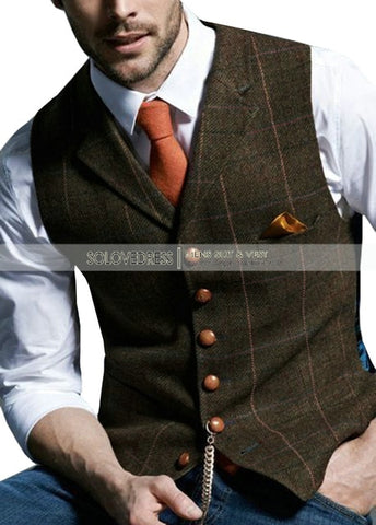 SOLOVEDRESS Men's Coffee Notched Plaid Waistcoat