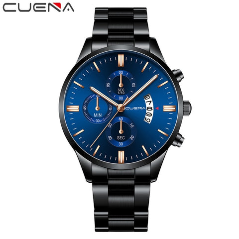 CUENA Men's Black & Gold Fashion Quartz Clock Watch