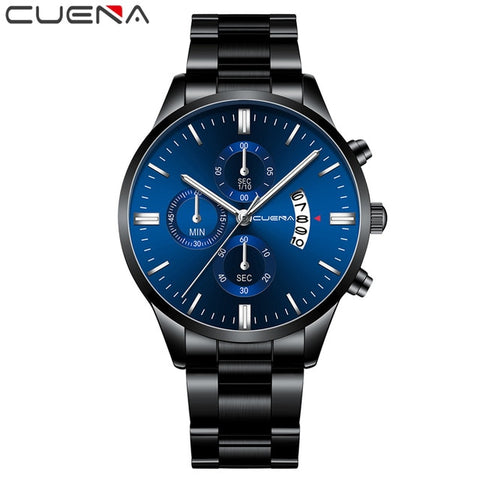CUENA Men's Black & Silver Fashion Quartz Clock Watch
