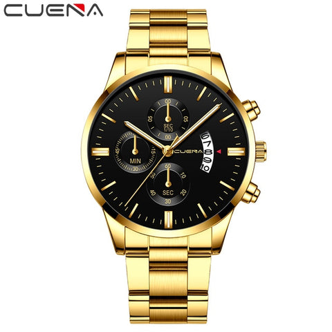 CUENA Men's Gold & Black Fashion Quartz Clock Watch