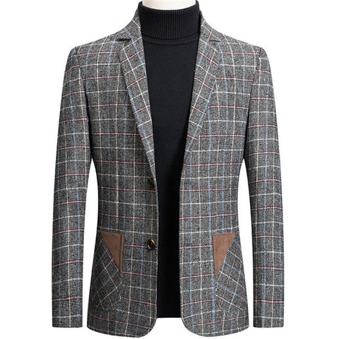 BOLUBAO Men's Gray Fashion Plaid Blazer