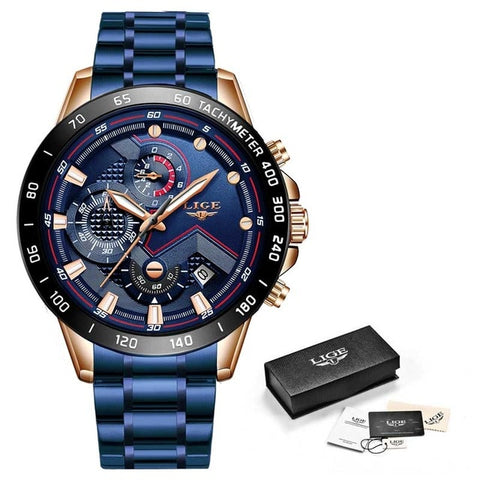 LIGE Men's Blue & Gold Business Multifunction Steel Watch