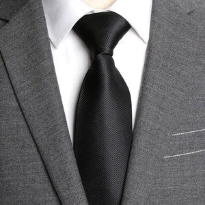 XGVOKH ID38 Classic Men's Jet Black Business Neck Tie With 8 CM Width
