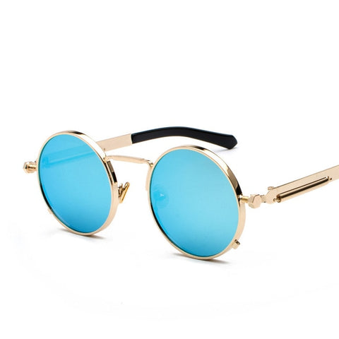 Oakshion Men's Gold Blue Vintage Round Punk Sunglasses