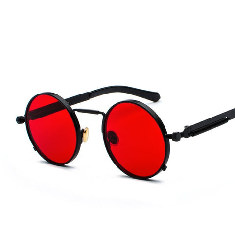 Oakshion Men's Black Red Vintage Round Punk Sunglasses