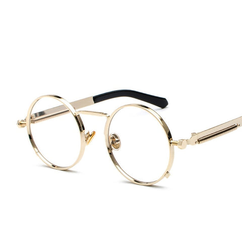 Oakshion Men's Gold Clear Vintage Round Punk Glasses