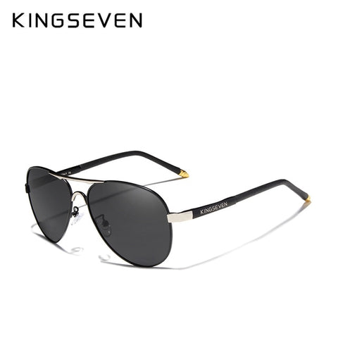 KINGSEVEN Men's Silver Gray Polarized Aluminum Fashion Eyewear