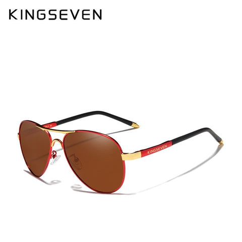 KINGSEVEN Men's Red Brown Polarized Aluminum Fashion Eyewear