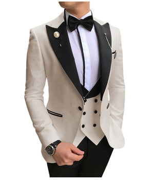 Open image in slideshow, SOLOVEDRESS A-Class Men's Beige Champagne Dinner 3 Piece Suit