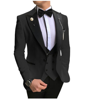 Open image in slideshow, SOLOVEDRESS A-Class Men's Black Champagne Dinner 3 Piece Suit