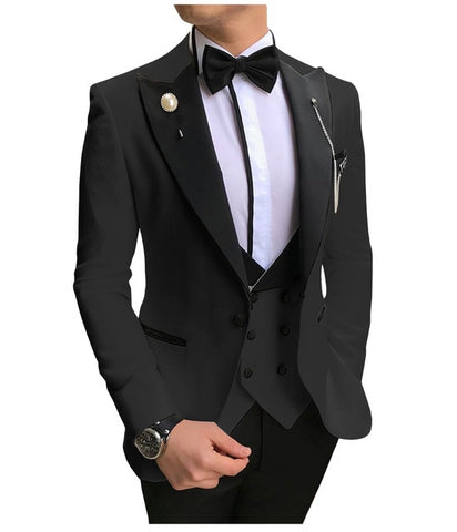 SOLOVEDRESS A-Class Men's Black Champagne Dinner 3 Piece Suit