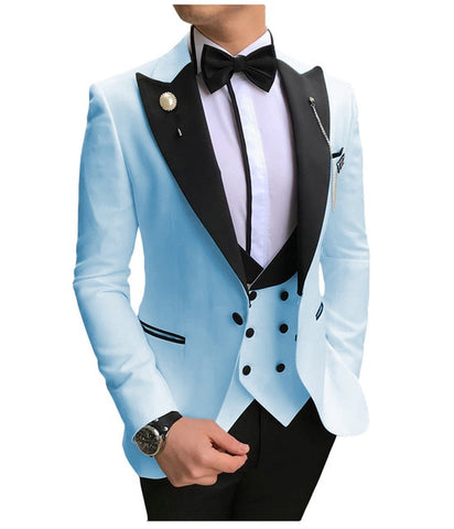 SOLOVEDRESS A-Class Men's Baby Blue Champagne Dinner 3 Piece Suit