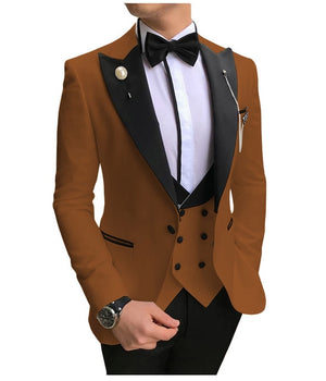 Open image in slideshow, SOLOVEDRESS A-Class Men's Brown Champagne Dinner 3 Piece Suit