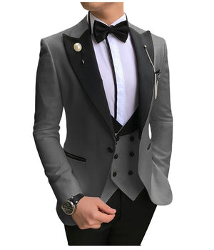 SOLOVEDRESS A-Class Men's Grey Champagne Dinner 3 Piece Suit