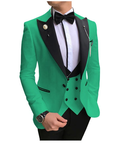 SOLOVEDRESS A-Class Men's Green Champagne Dinner 3 Piece Suit