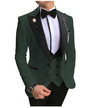 SOLOVEDRESS A-Class Men's Hunter Green Champagne Dinner 3 Piece Suit