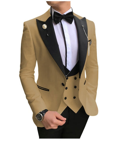 SOLOVEDRESS A-Class Men's Khaki Champagne Dinner 3 Piece Suit
