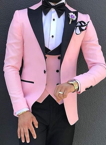 SOLOVEDRESS A-Class Men's Pink Champagne Dinner 3 Piece Suit