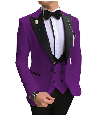 SOLOVEDRESS A-Class Men's Purple Champagne Dinner 3 Piece Suit