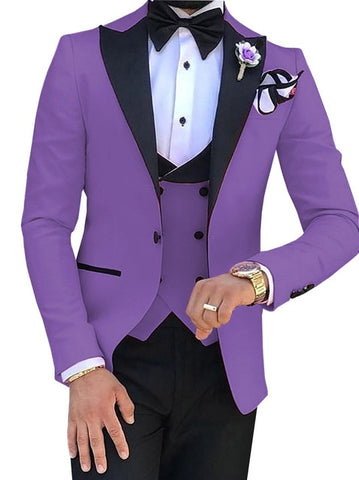SOLOVEDRESS A-Class Men's Lavender Champagne Dinner 3 Piece Suit