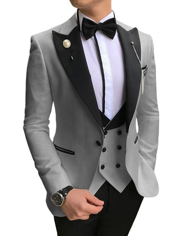 SOLOVEDRESS A-Class Men's Silver Grey Champagne Dinner 3 Piece Suit