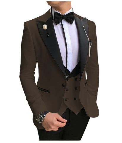 SOLOVEDRESS A-Class Men's Coffee Champagne Dinner 3 Piece Suit