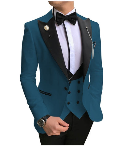 SOLOVEDRESS A-Class Men's Teal Blue Champagne Dinner 3 Piece Suit