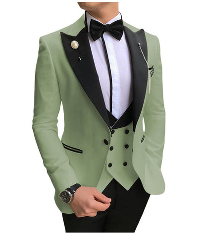 SOLOVEDRESS A-Class Men's Tea Green Champagne Dinner 3 Piece Suit