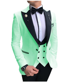 Open image in slideshow, SOLOVEDRESS A-Class Men's Mint Champagne Dinner 3 Piece Suit