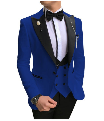 SOLOVEDRESS A-Class Men's Royal Blue Champagne Dinner 3 Piece Suit