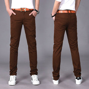 TANGYAXUAN 92 Men's Brown Broadcloth Cotton Slim Fit Chinos