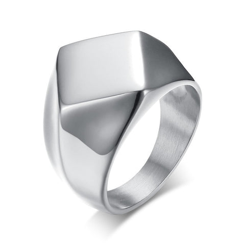 Stainless Steel Men's Silver Quadrangle Flat-Top Signet Ring