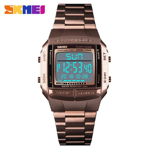 SKMEI Men's Coffee Gold Military LED Digital Watch