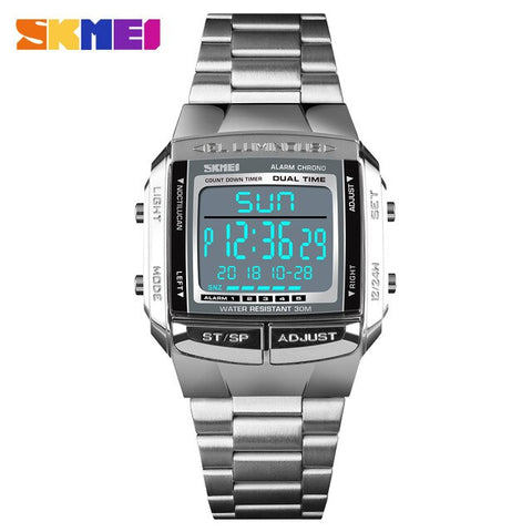 SKMEI Men's Silver Military LED Digital Watch