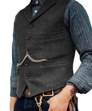 SOLOVEDRESS S56 Men's Grey Boutique Wool Tweed Business Waistcoat