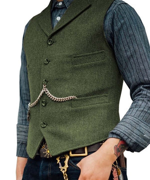 Open image in slideshow, SOLOVEDRESS S56 Men's Green Boutique Wool Tweed Business Waistcoat