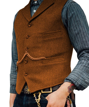 SOLOVEDRESS S56 Men's Orange Boutique Wool Tweed Business Waistcoat