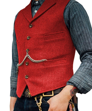 Open image in slideshow, SOLOVEDRESS S56 Men's Red Boutique Wool Tweed Business Waistcoat