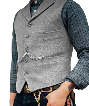 Open image in slideshow, SOLOVEDRESS S56 Men's Silver Boutique Wool Tweed Business Waistcoat