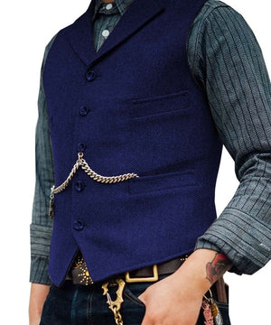 SOLOVEDRESS S56 Men's Royal Blue Boutique Wool Tweed Business Waistcoat