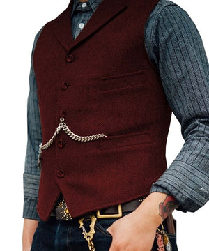 Open image in slideshow, SOLOVEDRESS S56 Men's Burgundy Boutique Wool Tweed Business Waistcoat
