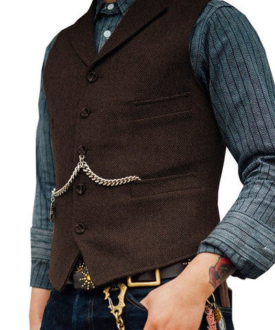 SOLOVEDRESS S56 Men's Coffee Boutique Wool Tweed Business Waistcoat