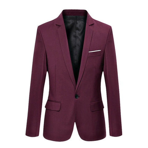 HIRIGIN 93 Men's Burgundy Comfortable Cotton Suit Jacket