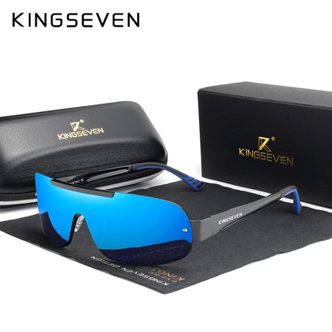KINGSEVEN Men's Mirror Blue Aluminum Sunglasses