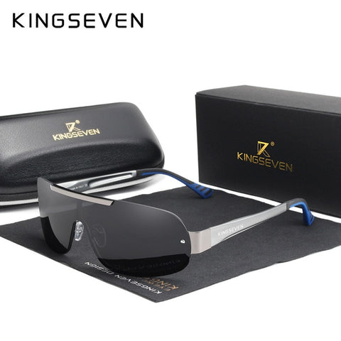KINGSEVEN Men's Gun Gray Aluminum Sunglasses