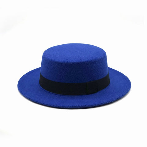 1TNSHRY Round Men's Blue Boater Hat with Felt Brim
